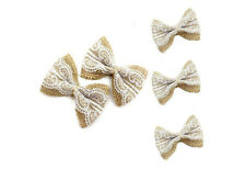 10X Jute Burlap Ribbon Linen Bow Lace Trim Rustic Wedding Party Packaging Supply