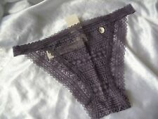L,Gilly Hicks Vintage style Lace Cheeky panty,dark lavender,polyamide, NEW