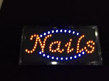 Animated Led Neon Light Nail Open Sign with On/Off Motion Switch