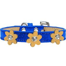 Mirage Pet Products Metallic Flower Ice Cream Collar Blue With Gold flowers S...