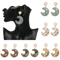Drop Shell pearl Earrings Women Moon Resin Girls Boho Geometric Jewelry