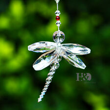 Cute Crystal Dragonfly Rainbow Maker Suncatcher Fengshui Mobile Pendant Gift