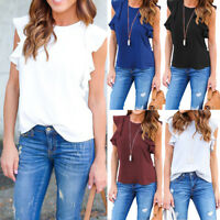 Women Frill Sleeveless Plain Vest Top Ladies Summer Casual Tank Blouse Shirt Tee