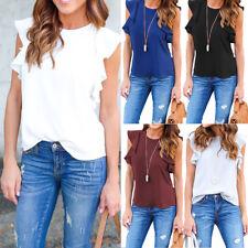 Womens Summer Ladies Casual Ruffle Sleeves Shirts Bardot Blouse Tops T-Shirt Tee
