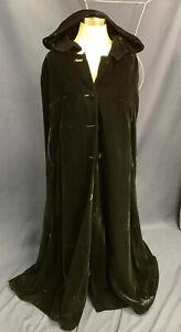 Black Velvet Hooded Cape Formal Caroler Sorcerer Goth Satin Lining Adult Medium