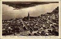 Neuruppin Brandenburg AK 1930 Klosterkirche Ruppiner See Luftbild gelaufen Pausa