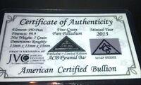 *ACB* Pyramid Palladium 5GRAIN BULLION MINTED BAR 99.9 Pure w/ Certificate! $