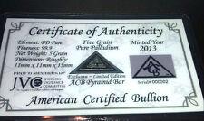 *ACB* Pyramid Palladium 5GRAIN BULLION MINTED BAR 99.9 Pure w/ Certificate! +