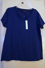 Stunning Marina Luna Blue Chiffon Trim Short Sleeve Tee Size 1X NWT