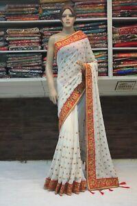 Heavy Blouse White Indian Georgette Saree Bollywood Designer Wedding Party Sari