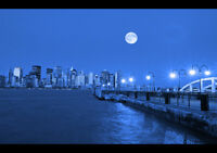 "MANHATTAN AT NIGHT NEW A4 CANVAS GICLEE ART PRINT POSTER 11.7""x8.3"""