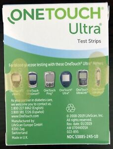 New Sealed One Touch Ultra 100 Count Diabetic Test Strips Exp Date: 2022-04-30