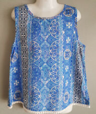 BNWT Girls Sz 9 Target Brand Blue Lace Trim Soft Summer Sleeveless Top