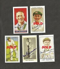 2 Hand Signed DON BRADMAN reproduction cigarette cards ASHES CRICKET + my COA
