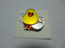 NWT Phizz Chick Chicken Hen Rooster Egg Hatch Hatching Lapel Pin Brooch Spring