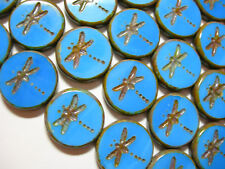 8 17mm Czech Glass Sky Blue Picasso Dragonfly Coin Beads