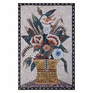 Textile Modern multicolored Flower Basket Marble Stone Fine Mosaic Wall Art,