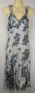 Stunning Galliano Black & White Shine Vintage Sleeveless Midi Dress Padded 28/42