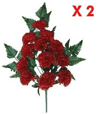 (Pack of 2) Red Carnation Bush Silk Flower Arrangement Wedding Home Craft Decor