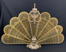 Vintage Victorian? Fancy Brass Folding Peacock Fan Fire Place Screen