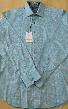 NWT Robert Graham Shirt Woven Button Down Color Blue Size M $198.00