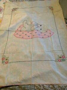 """Vintage Antique Quilt Top Coverlet Little Girl Boy Baby Tinted Embroidery 33x46"""""""