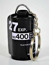 FILM KEYCHAIN MADE FROM RECYCLED 35 MM FILM CANISTERS, BLACK AND WHITE ISO 400