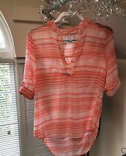 Discreet... Large Women's sheer shirt... Orange/white