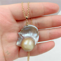 26x31mm Natural Multi-color Baroque Pearl Necklace 18 inches Chain Hang Flawless