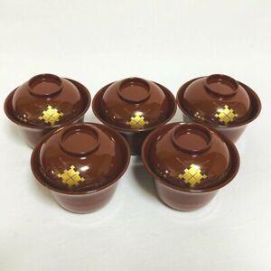 Japanese Ohuchinuri Suimonowa Lacquered Soup Bowl / Lidded Bowl Set of 5 Japan