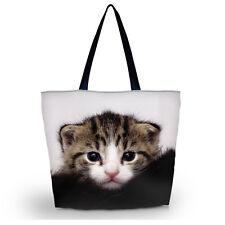 Cute Cat Women Girl Shopping Bag Shoulder Tote Handbag Folding Reusable Eco Bag