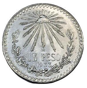 1933 MEXICO 1 UN PESO CAP & RAYS  SILVER COIN