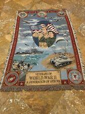 Goodwin Weavers 64x45 Dept of Air Force Army Navy Veterans Ww2 Throw Blanket
