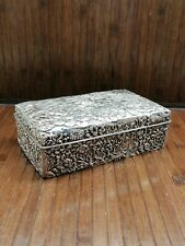 SUPERB ANTIQUE CHINESE SILVER LIDDED BOX