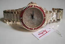 Men hip hop Bling clubbing Gold finish Red/Clear Stones TECHNO PAVE Rapper watch
