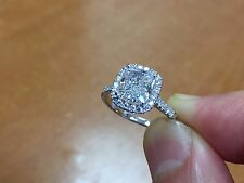 1.80ctw Natural Cushion Halo Pave Eternity Diamond Engagement Ring - GIA Cert