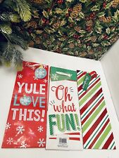 New Lot of 6 Christmas Wine Bottle Paper Gift Bag w Tag 6 Different Designs 13x8