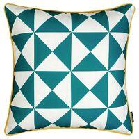 """Geometric Cushion Teal Blue Yellow Scatter Throw Pillow Sofa Case Cover 45cm 18"""""""