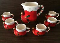 Vintage Napcoware Santa or Elf Boot Pitcher and Boot Cups Christmas Decor