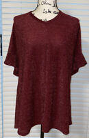 New Women Misia Red Sparkly Ruffle Sleeve open Back Blouse Plus Size 1X Shirt