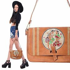 Vtg 70s Tan INDIA Boho Ethnic Hippie Gypsy Purse Shoulder Bag Tooled Festival
