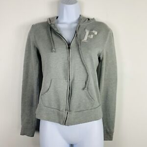 Abercrombie & Fitch Hooded Junior Sweatshirt Sz XS Gray Zip Front Casual JF39