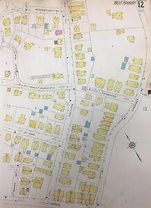 1928 SANBORN BOSTON JAMAICA PLAIN, MA. BOWDITCH SCHOOL MAP ATLAS PLAT 12&13