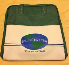 Vintage Collette Tours Green Vinyl Airline Travel Carry On Bag Case/Tote