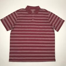 Nike Golf Men Red White Striped Golf Polo sz 2Xl (Embroidered Sleeve)