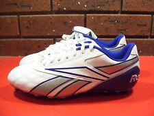 Reebok Mens Football Soccer Boots Cleats Shoes Leather Size 10.5 White Blue