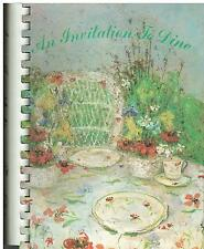 *HINSDALE IL 1981 *AN INVITATION TO DINE COOK BOOK *ROBERT CROWN CENTER FRIENDS