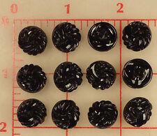 """12 black small Czech glass shank buttons swirl spiral design 14mm 1/2"""" 0.5"""" #464"""
