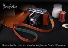 Brofeta leather case/bag and strap for Voigtlander Perkeo Iiie film camera