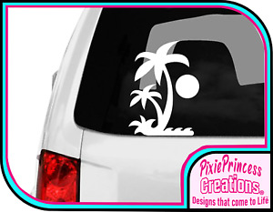 Beach B Tropical Vinyl Sticker Poster Car Camper Van VW Surf Wall Decor Decal